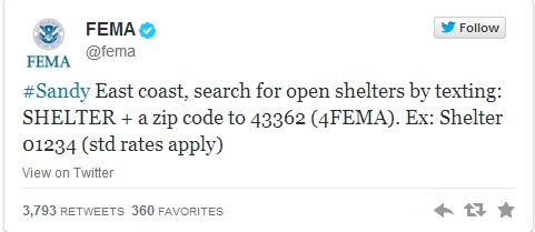 FEMA Tweet about looking for shelter in the aftermath of Hurricane Sandy