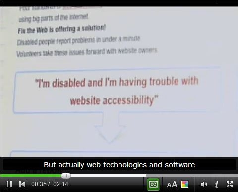 Image of a workshop video player where a block of text on the screen says, I'm disabled and I'm having trouble with website accessibility.