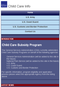 Home Screen of GSA Child Care Info Portal