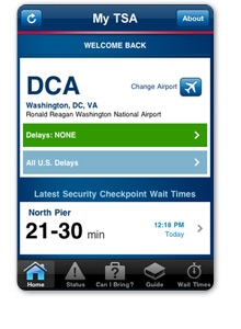 My TSA mobile app home screen
