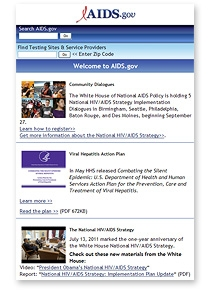 Home Screen of AIDS.gov's responsively designed web site on a smartphone.