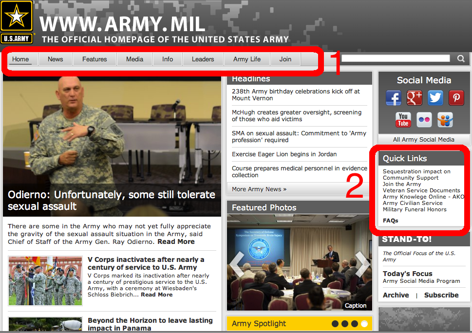 Screenshot of Army.mil after user testing.