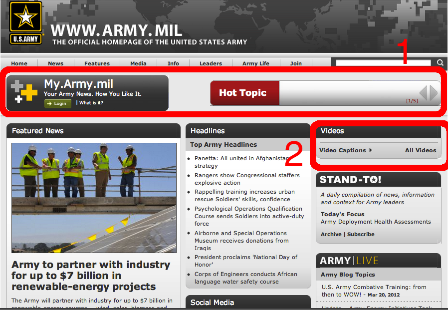Screenshot of Army.mil before user testing.