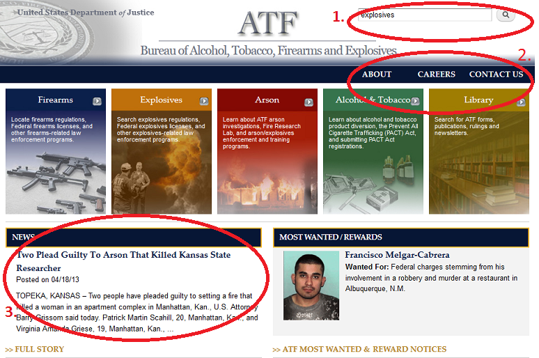 Screenshot of ATF.gov after user testing.