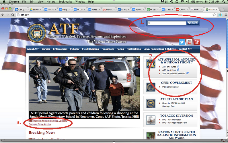 Screenshot of ATF.gov before user testing.