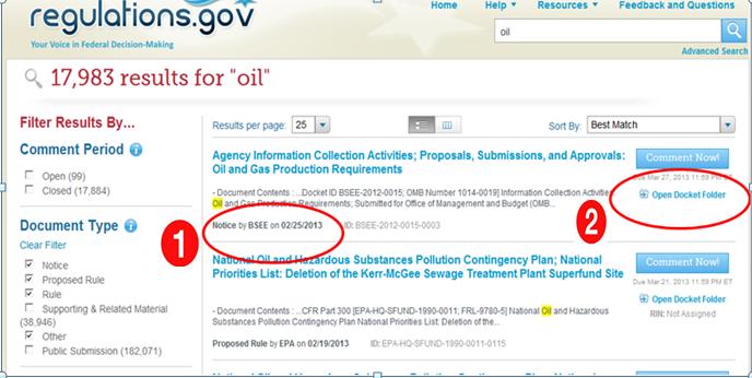 Screenshot of Regulations.gov after ux testing