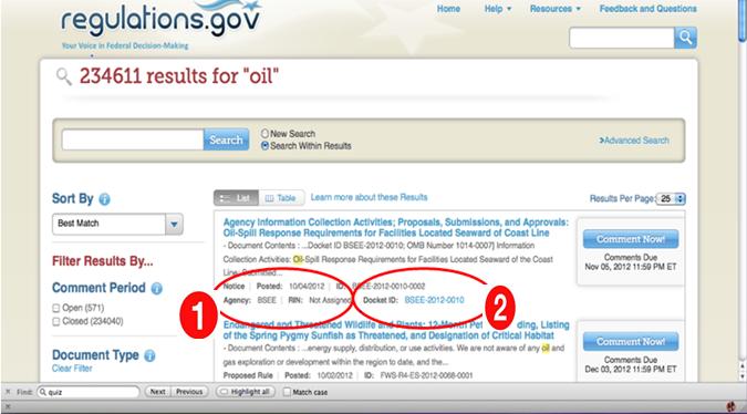 Screenshot of Regulations.gov before ux testing