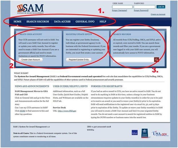 Screenshot of the SAM.gov site after user testing.