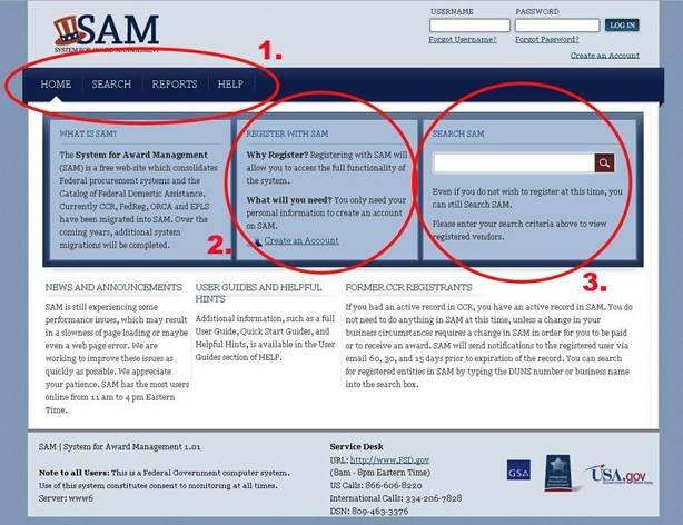 Screenshot of the SAM.gov site before user testing.