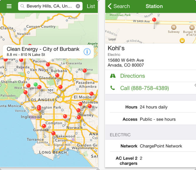 Two screen shots of Alternative Fueling Station Locator App , one showing a map of Southern California with push pins showing locations of fueling stations, and the second screen shot showing details (address, what type of fuel, etc)
