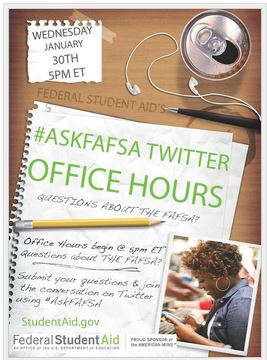 Poster promoting #askFAFSA Office hours
