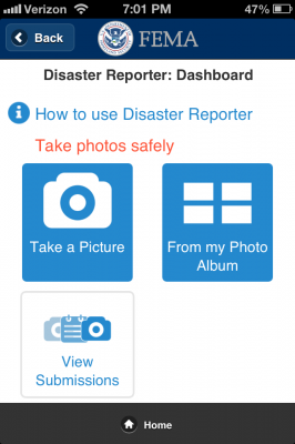 Fema App Screenshot of Disaster Reporter Feature