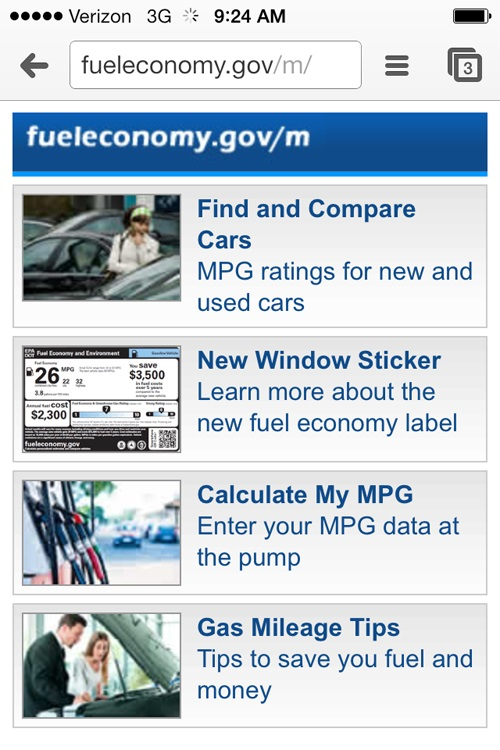 Screenshot of Fueleconomy.gov's mobile site