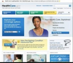 Screenshot of Healthcare.gov homepage