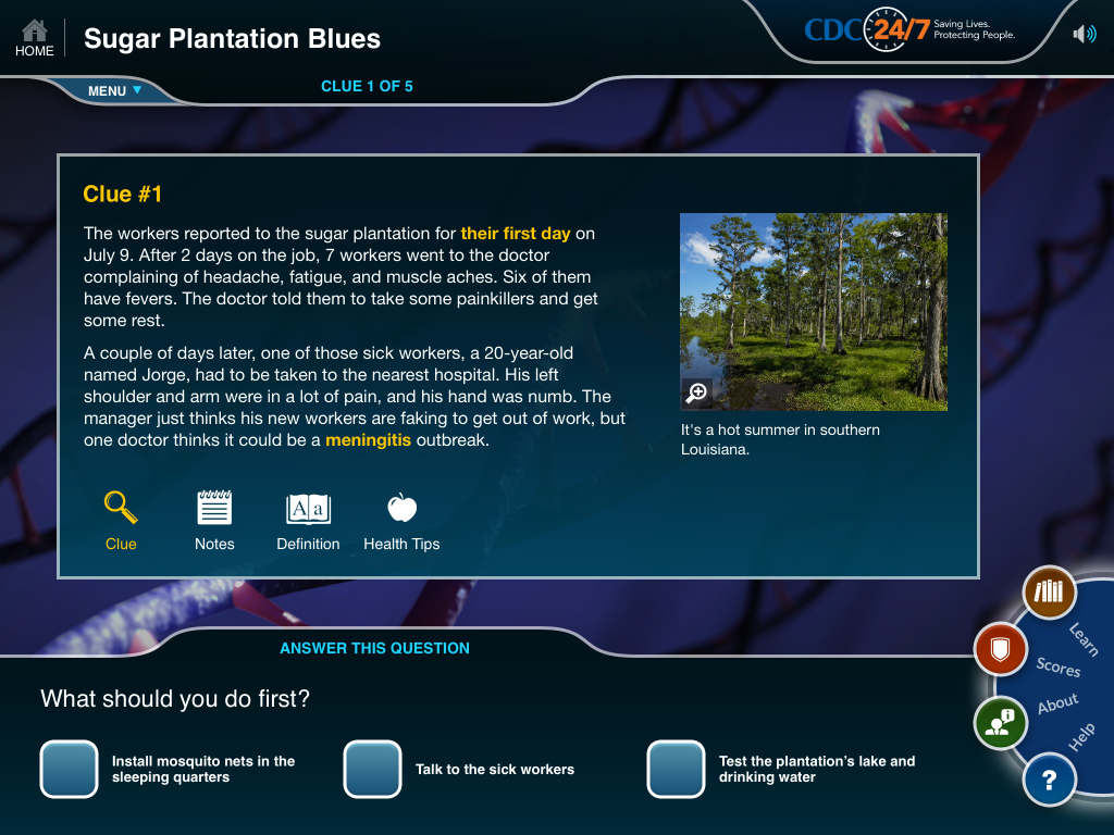 CDC Solve the Outbreak Plantation Blues for iPad showing the first clue in their new game scenario with a photo of the Louisiana bayou.