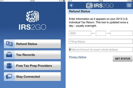 Screenshots of the IRS2Go Application