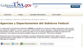 screenshot of Gobierno.USA.gov