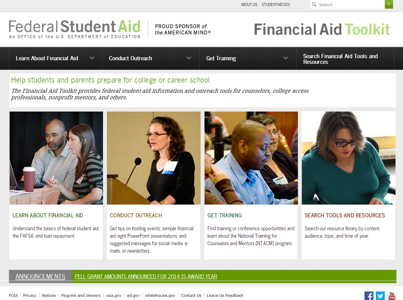 Homepage Federal Student Aid Financial Aid Toolkit
