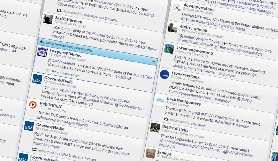 Screenshot of Hootsuite showing two Twitter streams