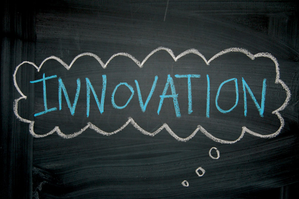 Innovation written on a chalkboard