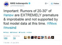 Screenshot of Tweet from NOAA's Indianapolis Meterologist dispelling a snowstorm prediction