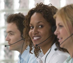 image of contact center agents speaking on headsets
