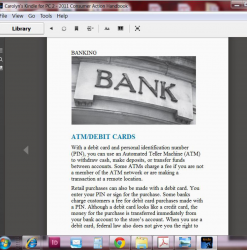 Image shows the beginning of the 2011 Consumer Action Handbook's Banking section in Kindle for PC preview software