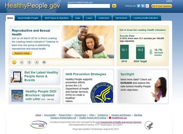 screenshot of HealthyPeople.gov