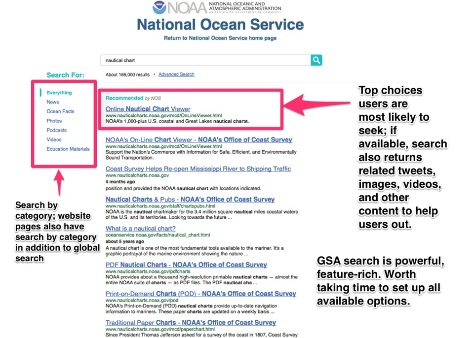 NOAA screenshot of the search page after