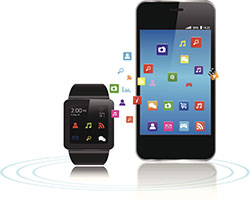 An illustration of a smart phone and smart watch synching data