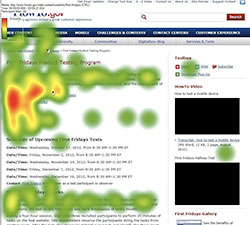 A heatmap in the shape of a capital F shows how a user's eyes scan a web page
