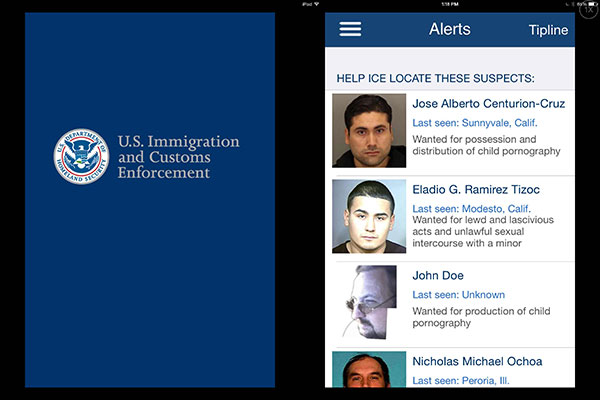 Two screen shots of mobile app; the splash screen with the ICE branding, and the Alerts screen with mug shots of wanted predators.