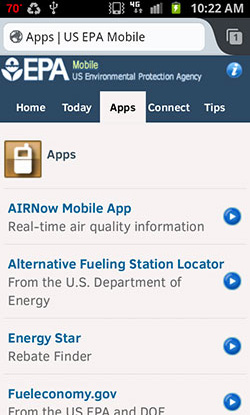 Screenshot from a smart phone of the E P A dot gov mobile website