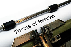 Terms of Service typed out on a sheet of paper in a typewriter