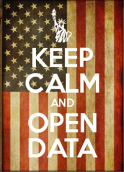 Meme: Keep Calm and Open Data over an American flag