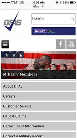 DFAS menu Responsive Screenshot