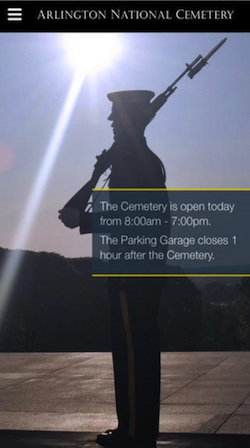 Home screen of ANC Explorer app showing guard at Tomb of the Unknown Soldier.