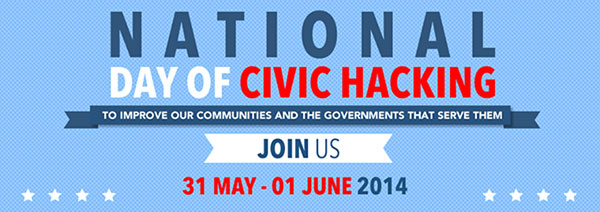A Facebook banner that reads: National Day of Civic Hacking: To improve our communities and the governments that serve them. Join us May 31st - June 1st, 2014