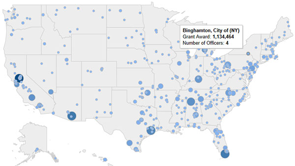 Graphic from an interactive map showing the 2010 grant awards info for City of Binghamton, New York
