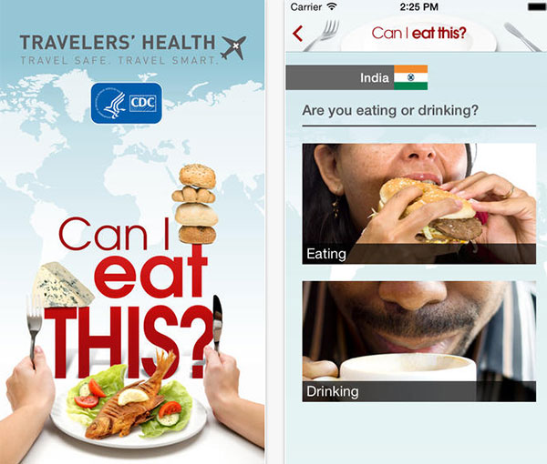 Screen captures of the CDC's Can I Eat This section of the Travelers' Health iTunes App