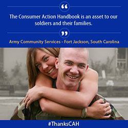 Picture of soldier and a woman talking about how they like the Consumer Action Handbook