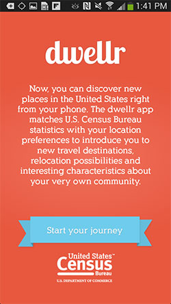Home screen of the U.S. Census Bureau's dwellr app for Android devices