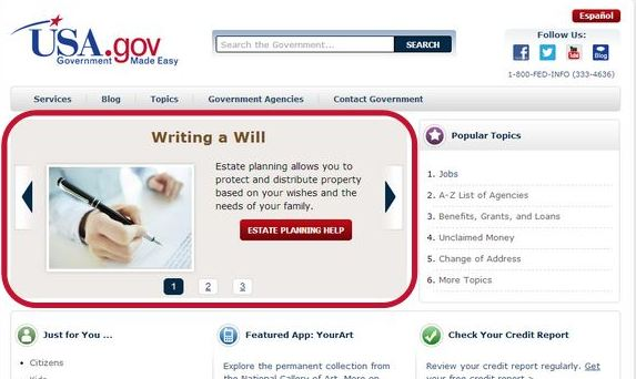 A homepage for usa.gov with a rotating item circled in red.