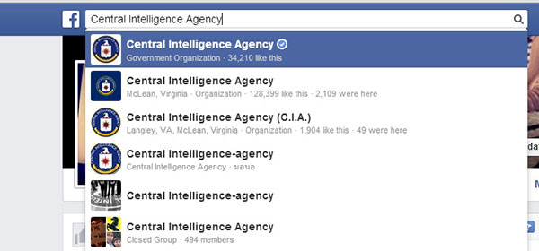 Screen capture of search results for Central Intelligence Agency on Facebook; Facebook's blue and white Verified check mark identifies the real CIA's federal account above multiple imposter accounts.