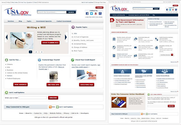 The USA.gov home page from May 2014 (left) and June 2014 (right).