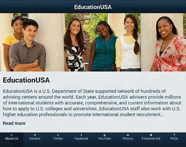 EducationUSA app horizontal screencap on smart phone