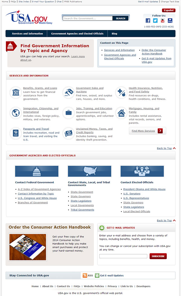 The new USA.gov home page.