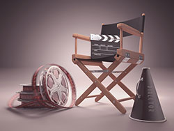 Film reel, film slate, director's chair and megaphone