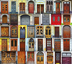 Challenges are a first step/front door to problem solving with the public. Photo shows a collage of Kiev front doors in the Ukraine, representing diversity.