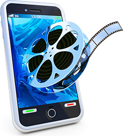 An illustration of a film reel merging with a smart phone to represent mobile video